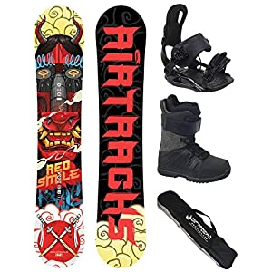 Airtracks Snowboard Set/Board Red Smile Wide Hybrid Rocker + Snowboard Bindung Master + Snowboardboots + Sb Bag / 156 159 162 cm