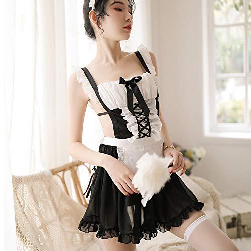 xbowo-Appeal Erotische Dessous Cosplay Cute Maid Babydoll Kleid Erotische Dessous Cosplay Uniform Französisch Schürze Maid Servant Lolita Kostüm Rollenspiel Maid Outfits @ As Shown One Size