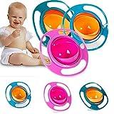 yi-gog Baby Magic Gyro Bowl 360 Grad Drehen Spill-Proof Schüssel mit Deckel Kunststoff Kreative Gerichte 3 Stücke (Blau + Grün + Rose)