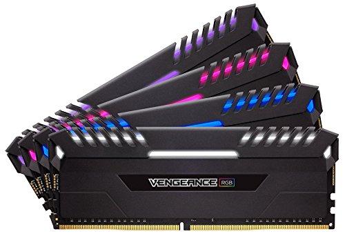 Corsair Vengeance RGB Kit di Memoria Illuminato RGB LED Entusiasta 64 GB (4x16 GB), DDR4 2666 MHz, C16 XMP 2.0, Nero