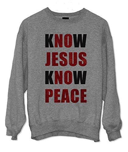 Know Jesus Know Peace Christian Religion Christ Sweatshirt Grau Small