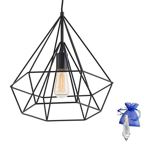 Hängeleuchte schwarz matt im Diamanten Desing mit Drahtgestell E27 Ontario Pendelleuchte Esszimmer-Lampe 7597ZW + Giveaway