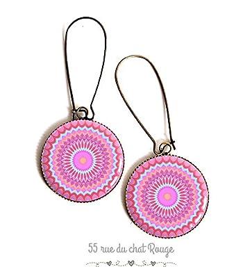 Boucles d'oreilles cabochon, Mantra, Mandalo, rose et bleu, couleur pastel, bijou ethnique, bijou zen