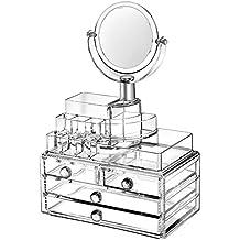 Organizer SCFL in acrilico trasparente per trucchi, rossetti, cosmetici e gioielli - Espositore di bellezza ordina trucchi e accessori, contenitore con specchio 24x 15x 36,5cm