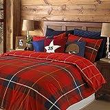 Schottenmuster kariert rot umkehrbar Baumwollmischung Doppelbett Bettwäsche