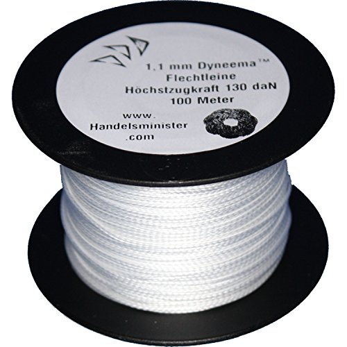 100m - 500m Dyneema Drachenschnur 30daN-500daN weiß 0,3mm-1,8mm sehr dehnungsarm geflochten Einleiner Lenkdrachen, Länge:100m, Durchmesser / Bruchlast:1.1mm 130daN