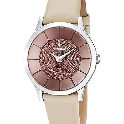 Festina F16661/3 - Reloj analógico de cuarzo para mujer con correa de piel, color beige de Festina