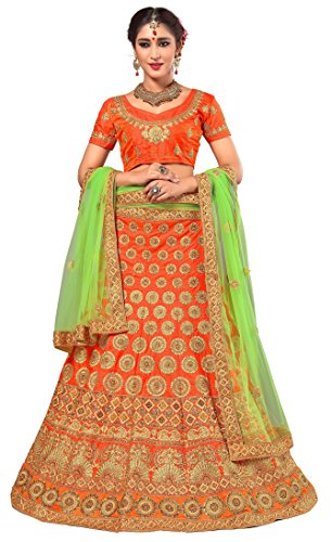 Panash Trends Women's Heavy Embroidered & Hand Work Stone Lehenga Choli (PN.LG04.Orange...