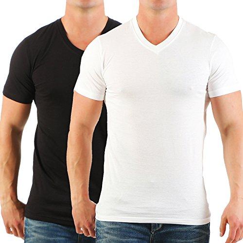 Herren T-Shirt mit V-Ausschnitt im 2er Pack Chlorfrei Nr. 135 Weiß / Schwarz