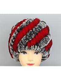 Womens cálido invierno sombreros sombrero de piel de conejo Rex Real Knit Beanie gorro nº 11