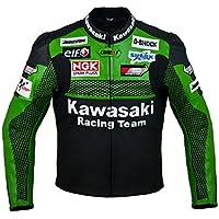 Kawasaki Blouson moto en cuir Racing Team rouge Rouge L (EU52-54)