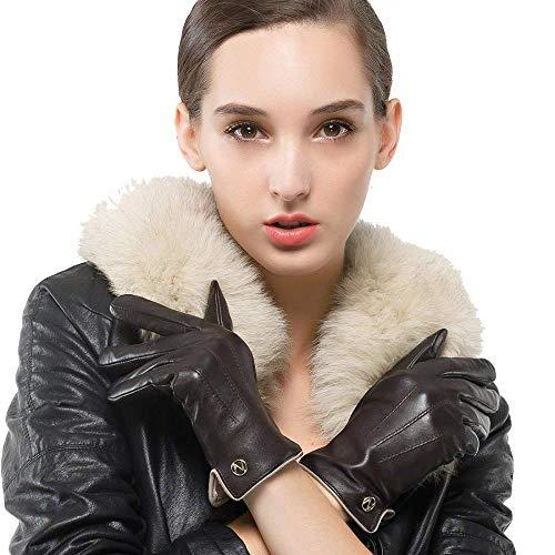 MLL Damen Winter Lederhandschuhe - Pure Cashmere Futter - Warme Touch Screen Handschuhe - Damenhandschuhe,schwarz,19 * 20.3 - Schwarz Pure Cashmere Damen-handschuhe