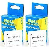 Disko - 2X Batería NB-6L NB6L 1100mAh para Canon Ixus: 105, 200IS, 210, 25IS, 300 HS, 310 HS, 310HS, 85is, 95is / PowerShot: D10, S90, S95, SD770is, SX240 HS, SX240HS, SX260 HS, SX260HS, S120, D20, SX270 HS, SX280 HS, SX500 IS, SX170 IS, SX170IS, SX510 HS, SX510HS
