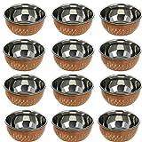 Billion Deals Lot de 24 ustensiles de cuisine indiens 100% pur en cuivre, cuivre, katori cuivre, cadeau, Saint-Valentin, fête des mères