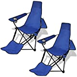 vidaXL 2 Pcs Foldable Camping Chair With Footrest Blue
