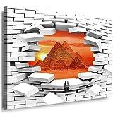 JULIA-ART 126wl2 S - Format 60 - 50 cm Bild auf Leinwand Pyramide - Ägypten 3D Illusion Mauer Loch Wand Deko ideen - Natur, Landschaft Bilder