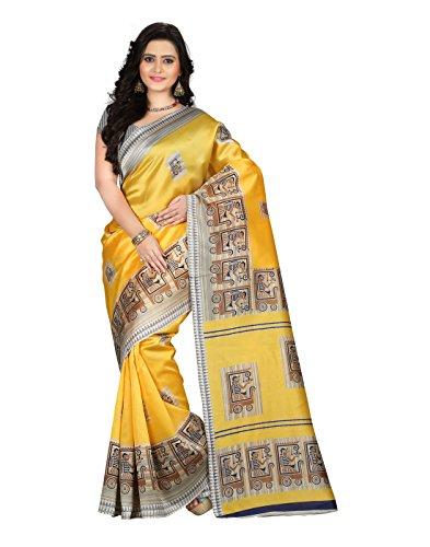 e-VASTRAM Women\'s Art Mysore Printed Silk(NS3D_Yellow)