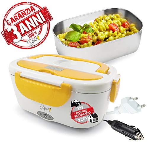 Spice amarillo inox plus scaldavivande portatile doppio voltaggio + 3 anni di garanzia - lunch box double voltage 220v - 12v vaschetta 1,5 l estraibile in acciaio inox 40 w coperchio con guarnizione