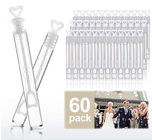 ABSOFINE 60x Seifenblasen Hochzeit Gastgeschenke gefüllt Wedding Bubbles für Hochzeiten Herzgläschen Set mit Herzgeriff