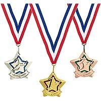 Juego de 3 medallas para premios, medallas de oro, plata y bronce para deportes, competiciones o regalos de fiesta, Star-shaped