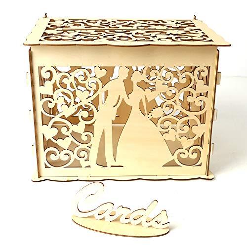 Decdeal Geschenkbox DIY Holz Hochzeit Karte Box mit Schloss und Karte Zeichen Rustikale Hohl Geschenk Kartenhalter für Empfang Hochzeitstag Party Dekoration (Hochzeit Karte Box Rustikale)