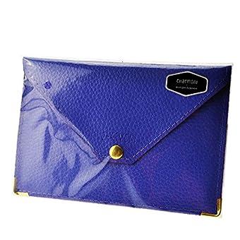 Charmoni-Tür-Papier, Umschlag mit Druckknopf, Führerschein den Kfz-Schein-aus glattem Crustleder Mazlum Leder, Blau