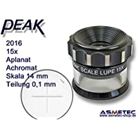 PEAK-Optics Messlupe 2016, 15fach, Skala 0,1 mm