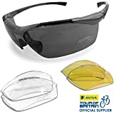 VeloChampion Tornado Cycling Running Sports Sunglasses - with 3 Sets of Lenses and Soft Pouch