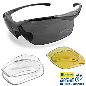 VeloChampion Tornado Cycling Running Sports Sunglasses - Black with 3 Sets of Lenses and Soft Pouch