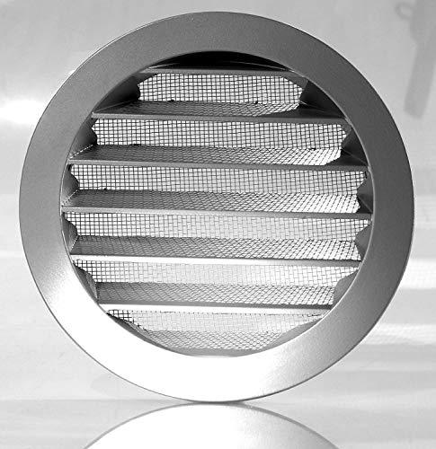 Klimapartner WSGG 80 - Rejilla de Ventilación Redonda Gris Aluminio