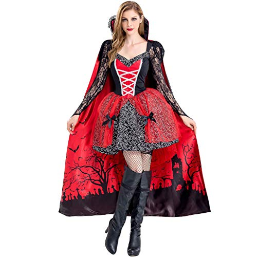 PROTAURI Damen Frauen Halloween Kostüm Vampir - Königin Hexe Kostüm mit Mantel Cosplay Cosy Black Ghost Zombie Party Outfits