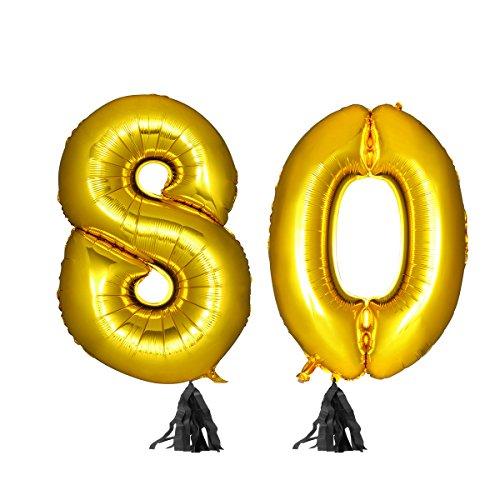 dene Nummer 80 Ballon + schwarze Quaste + goldenes Band für Party liefert (50 Geburtstag Kulisse)