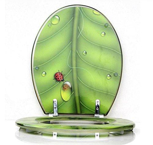 Uncle Sam LI Creative Resin Vert Feuille Insectes Thickening UVO Universal Siège de toilette | Charnières Stable | Facile à monter |