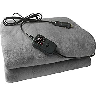Sojoy Auto 12V Heated Travel Electric Blanket with 45' Timer for Car Truck Boats or RV (Grey)