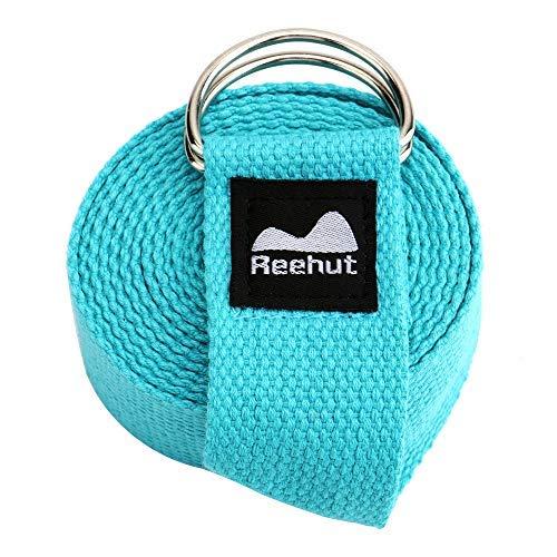 REEHUT Yogagurt (1,8m, 2,4m, 3m) Baumwolle mit stabilem Verschluss aus 2 verstellbaren D-Ringen, Langer Yoga Gurt Band Zubehör Hilfsmittel für Dehnung Belt