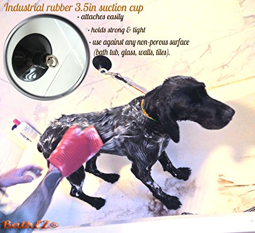BathEz Dog Durable Bathing Cable Tub Restraint with Top Performance Strong Suction Cup and Collar 6