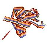 Kitechildhiid 4M Universal Gym Dance Ribbon Ritmica Ginnastica Streamer Twirling Rod Stick Multicolor