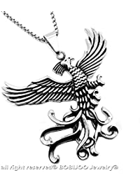 BOBIJOO Jewelry - Imposant Pendentif Homme Phoenix Oiseau de Feu Dragon  Acier Inoxydable + Chaîne 5604c05c7a6
