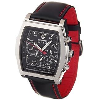 DeTomaso DT1011-A – Reloj cronógrafo de caballero de cuarzo con correa de piel negra (cronómetro) – sumergible a 50 metros