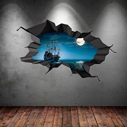 Piratenschiff Meer Cave Bullauge Mond ausgebrochenes 3D Wandkunst Aufkleber Jungen Kinder Wandgemälde Aufkleber NEU 1