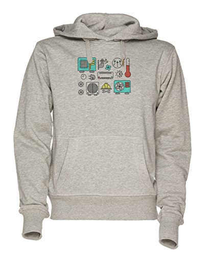 Anlage Teile Unisex Grau Sweatshirt Kapuzenpullover Herren Damen Größe XXL