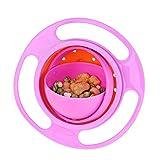 Ogquaton Cuencos para niños Novedad 360 Rotary Gyro Umbrella Bowl Prueba de derrames Niños Balance Bowl 3 Duradero y útil