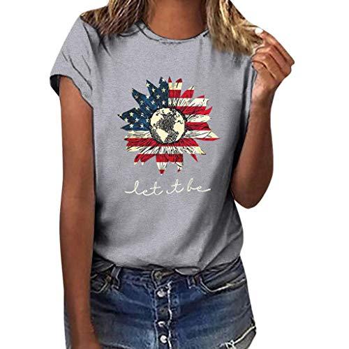 SHE.White Tag Der Unabhängigkeit Kurzarm Tops Damen Flagge Sonnenblume Drucken T-Shirt Sommer Casual Loose Blusen Strand Urlaub Lose Tunika - Land Check Shirt