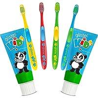 GLISTER KIDS Pasta Dentífrica 2 unid de 85 gr. y 4 cepillos dentales Infantil La pasta dentífrica multiacción sabor fresa y fórmula REMINACT