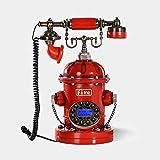 ZHAS Fourniture de téléphone Filaire Personnalité Rétro Bouche d'incendie Téléphone Fixe Style européen Mode Rotation Bouton Composer Téléphone Rouge 35 * 16cm téléphone sans Fil (Couleur: 2#)