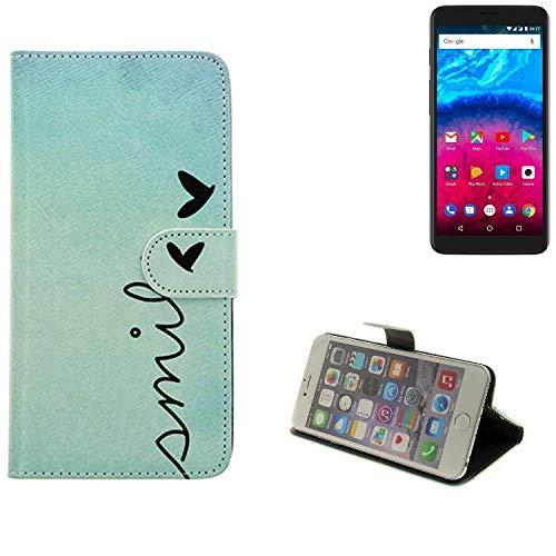 K-S-Trade® für Archos Core 55S Wallet Case Schutz Hülle Flip Cover Tasche ''Smile'', türkis