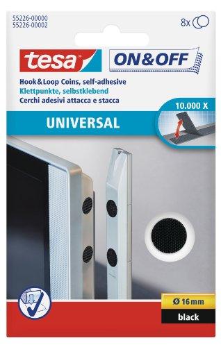 tesa VELCRO Set de 8 Pastilles adhésives Diam 16 mm Noire (Import Grande Bretagne)