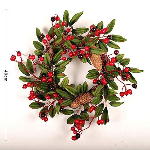 (FLYWS Weihnachten rote Früchte Rattan Ring Kranz dekorativen Kranz Tür hängen Weihnachtsschmuck)