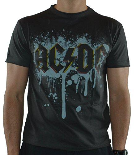 Graffiti Logo T-shirt (Amplified - AC/DC Herren T-Shirt - Graffiti Logo (Grau) (S-XL) (L))