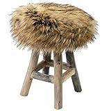 Wohaga Sitzhocker Fußhocker Polsterhocker Fellhocker Hocker mit Kunstfellsitz und Naturholzbeinen Ø30x42cm Braun